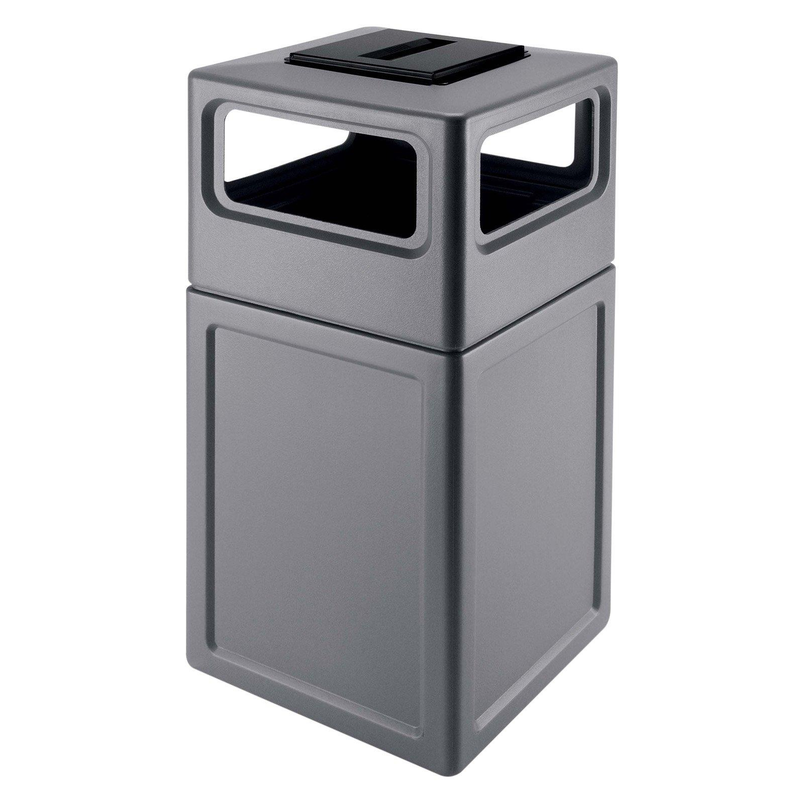 Rubbermaid Commercial Products Plaza Receptacle 50 Gallon Swing Top Trash Can