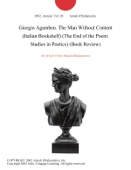 Annali d'Italianistica - Giorgio Agamben. The Man Without Content (Italian Bookshelf) (The End of the Poem: Studies in Poetics) (Book Review) artwork