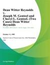 Dean Witter Reynolds V Joseph M Genteel And Cheryl L Genteel Two Cases Dean Witter Reynolds