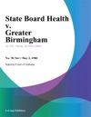 State Board Health V Greater Birmingham