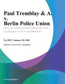 PAUL TREMBLAY & A. V. BERLIN POLICE UNION