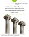 The Relevance Of Human Resource Management Theory On The Management Practices Of Hospitality Providers On Phillip Island Victoria