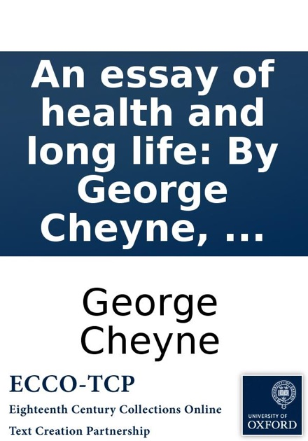 An Essay Of Health And Long Life By George Cheyne  By George  An Essay Of Health And Long Life By George Cheyne  By George Cheyne On  Ibooks
