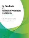 Iq Products V Pennzoil Products Company
