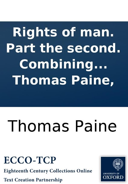 Rights Of Man Part The Second Combining Principle And Practice By Thomas Paine On IBooks