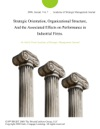 Strategic Orientation Organizational Structure And The Associated Effects On Performance In Industrial Firms