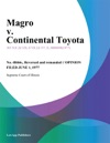 Magro V Continental Toyota
