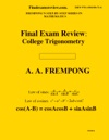 Final Exam Rview College Trigonometry