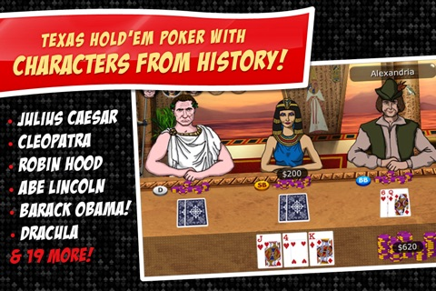 Imagine Poker ~ a Texas Hold'em series against colorful characters from world history! screenshot 1