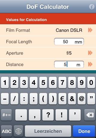 DoF Rechner screenshot 4