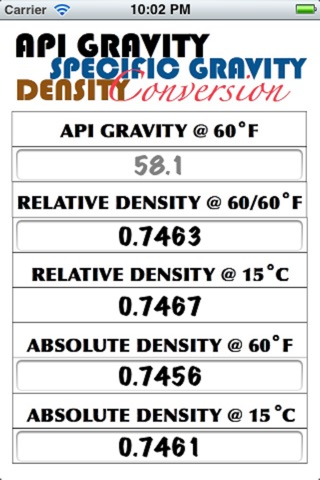 API Gravity, Relative Density & Absolute Density Calculator screenshot 1