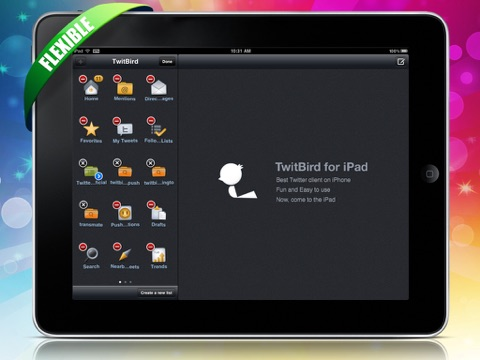 Screenshots of TwitBird free for Twitter for iPad
