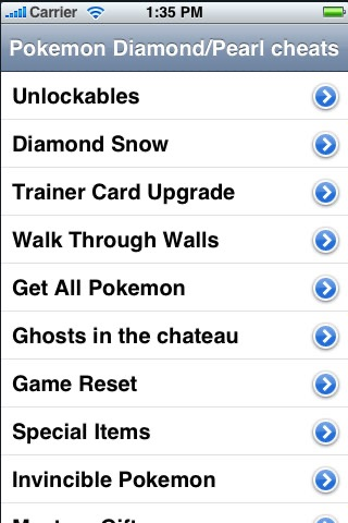 Screenshots of Cheats for Pokemon Diamond/Pearl Guide - FREE for iPhone