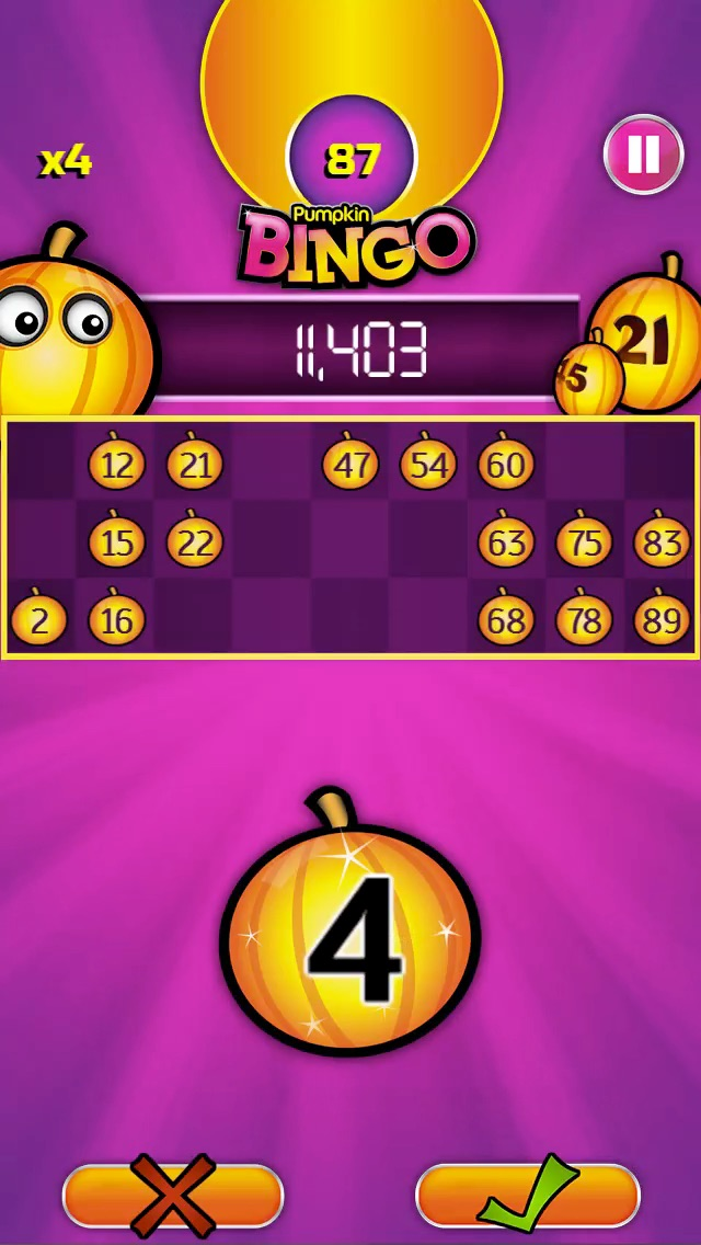 Pumpkin Bingo FREE Screenshot on iOS