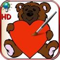 Colorir livro para Dia dos Namorados com pombas, corações e anjos - para iPhone e iPod