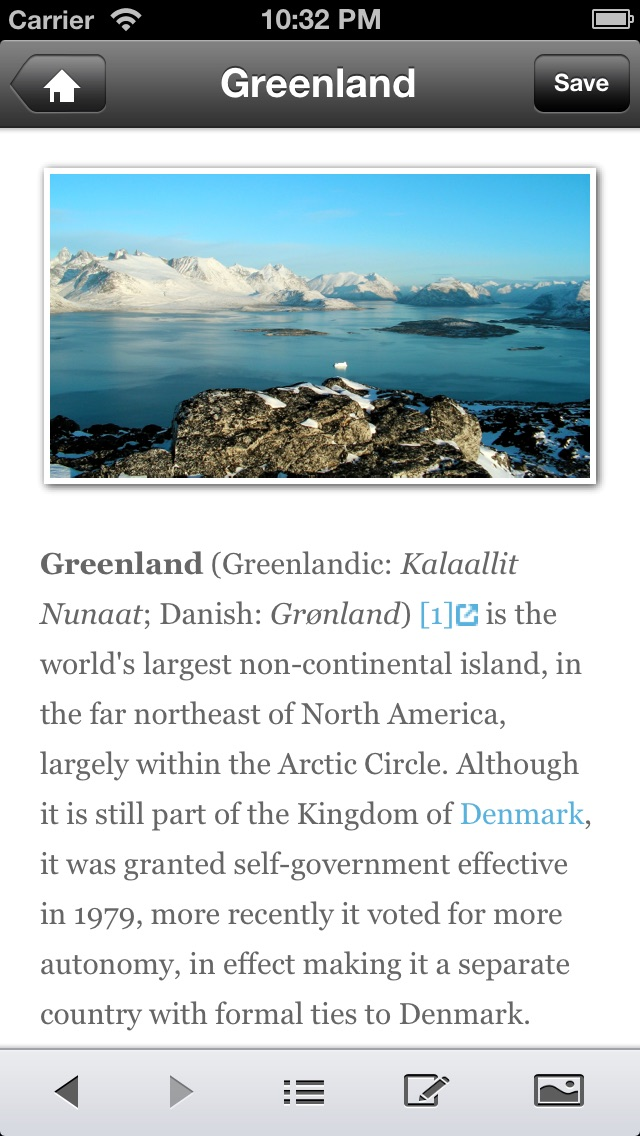 Screenshot 1 for Wikivoyage's iPhone app'