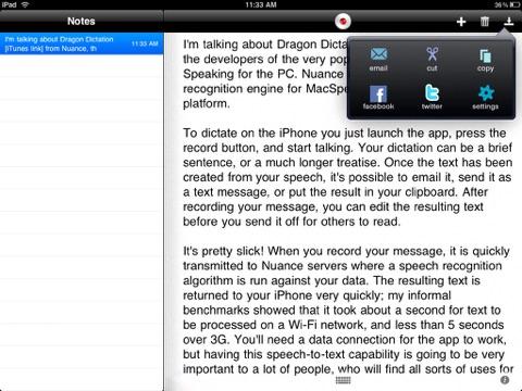 Screenshots of Dragon Dictation for iPad