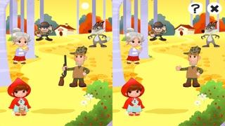 儿童游戏有关小红帽:游戏和拼图的幼儿园,学前班或幼儿园。 学习 与女孩,红色的斗篷,篮,狼,外婆,猎人在森林里!屏幕截图5