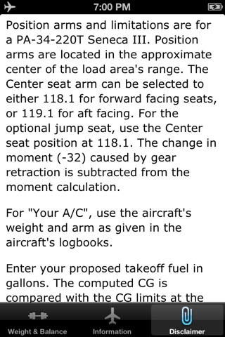 Seneca III PA34-220T Weight and Balance Calculator screenshot 4
