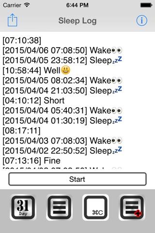 Sleep Log+ screenshot 1