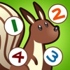 活動! 計數遊戲有關的森林植物和動物的孩子學習計數