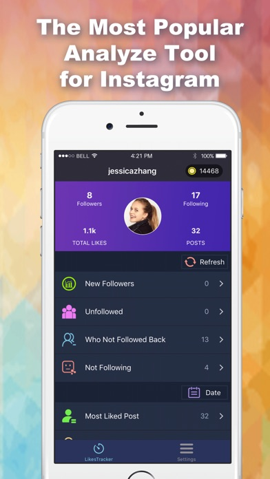 Screenshots of Likes Tracker: Likes and Followers + for Instagram for iPhone