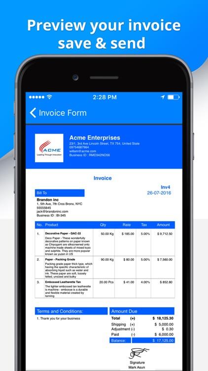 Invoice Pro Make Invoice Send Invoice Estimate By Anurag Bhartia - Send invoice app