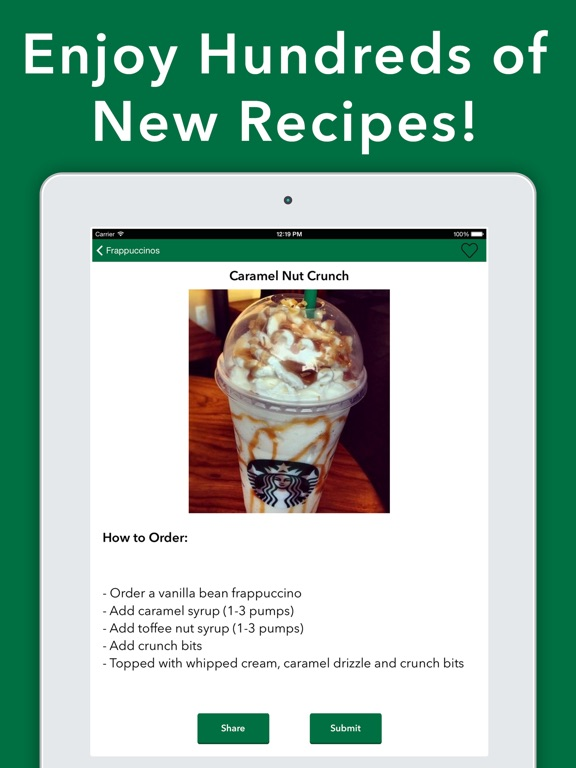Fabuleux Secret Menu for Starbucks - Coffee Tea Recipes on the App Store GW24