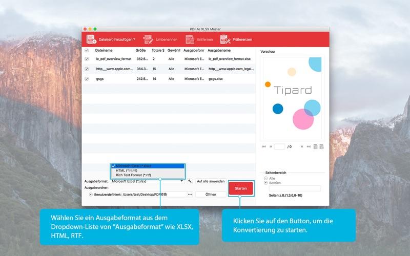 PDF to XLSX Master-Konvertieren von PDF in Excel Screenshot