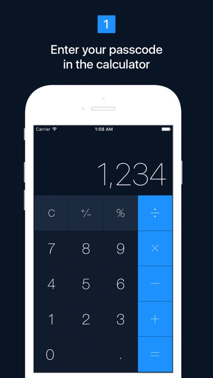 Calculator app that hides text