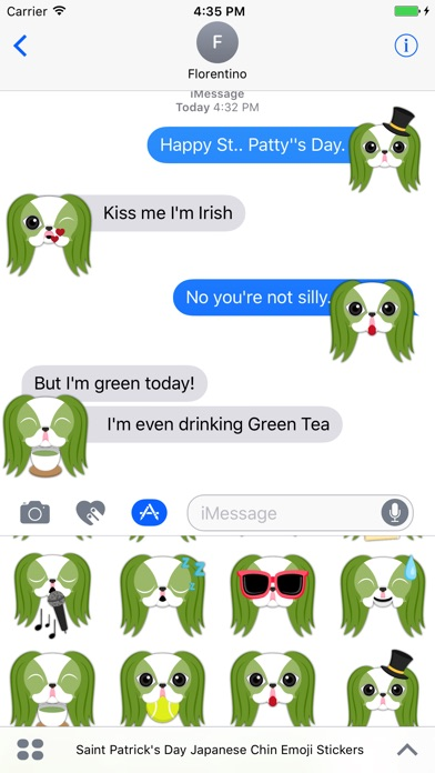 Saint Patrick's Day Japanese Chin Emoji Stickers Screenshot