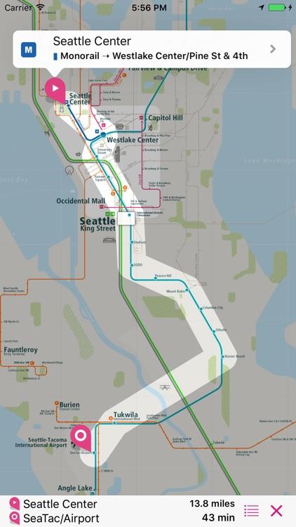 Seattle Rail Map Lite by UrbanMap