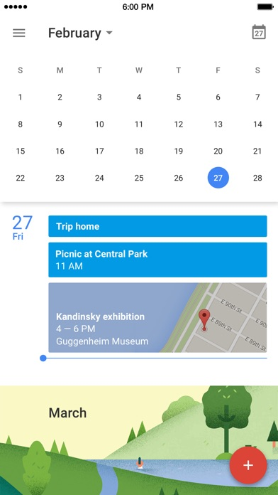 Screenshot of Google Calendar App