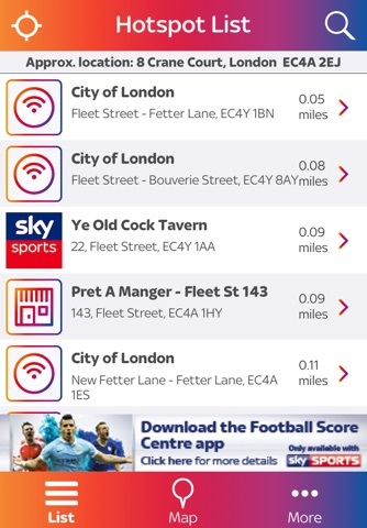 Sky WiFi Finder – with Sky Sports hotspot venues screenshot 1