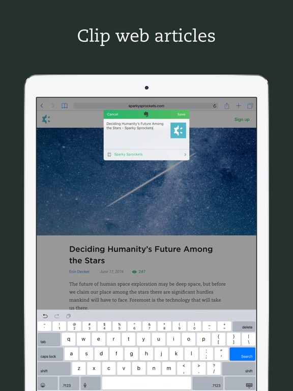 Screenshots for Evernote