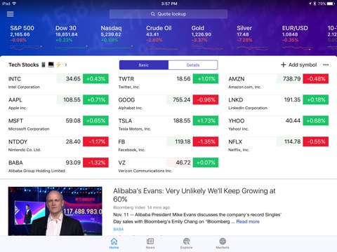 Yahoo Finance screenshot 1