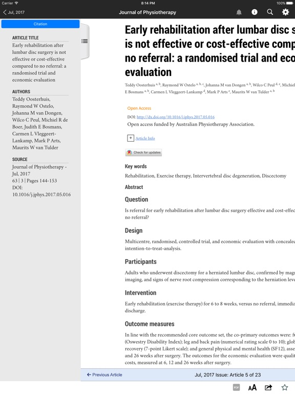 Screenshot #3 for Journal of Physiotherapy