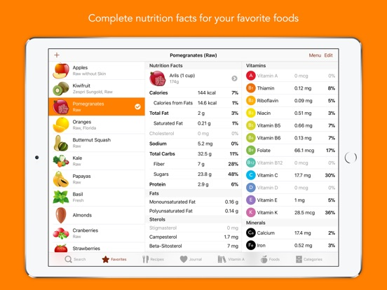 Screenshot #1 for Nutrients - Nutrition Facts
