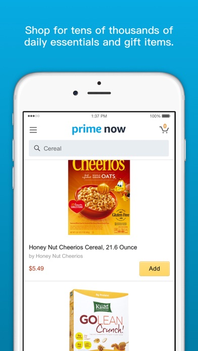 Screenshots of Amazon Prime Now for iPhone