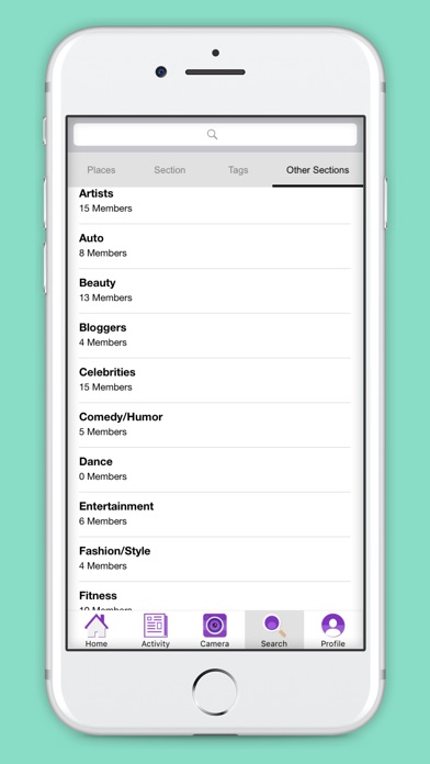 Screenshots for The Section App