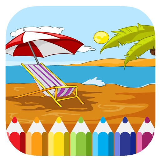 Beaches Summer Coloring Page Game For Kids iOS App