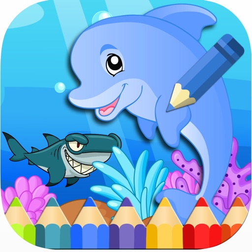 Ocean Dolphin Shark Coloring Book for Kids