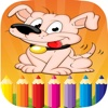 Kids Coloring Book Draw and Paint Dog and Animals
