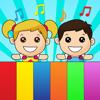 Piano niños con instrumentos musicales suena