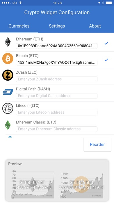 Crypto Currency Widget Screenshots
