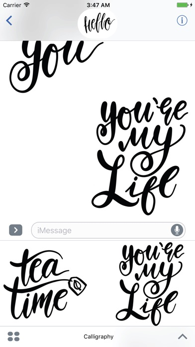 Hello Calligraphy! Stickers for iMessageСкриншоты 4