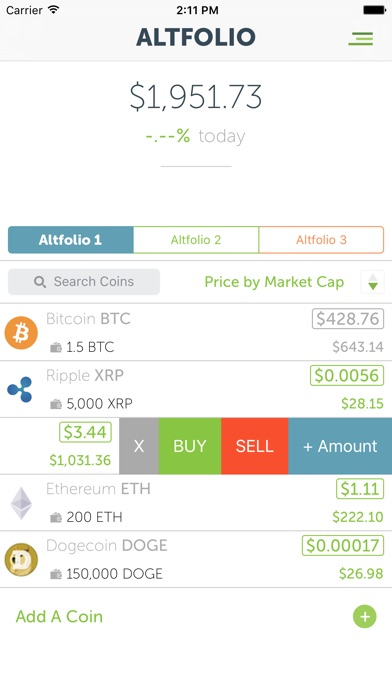 Screenshots of CoinCap for iPhone