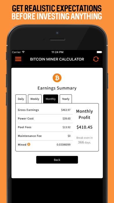Bitcoin Miner Calculator App by Yes Man Enterprises, Inc