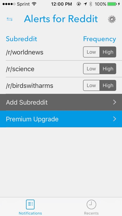 Alerts for Reddit Screenshots