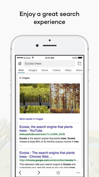 Screenshot 1 for Ecosia's iPhone app'
